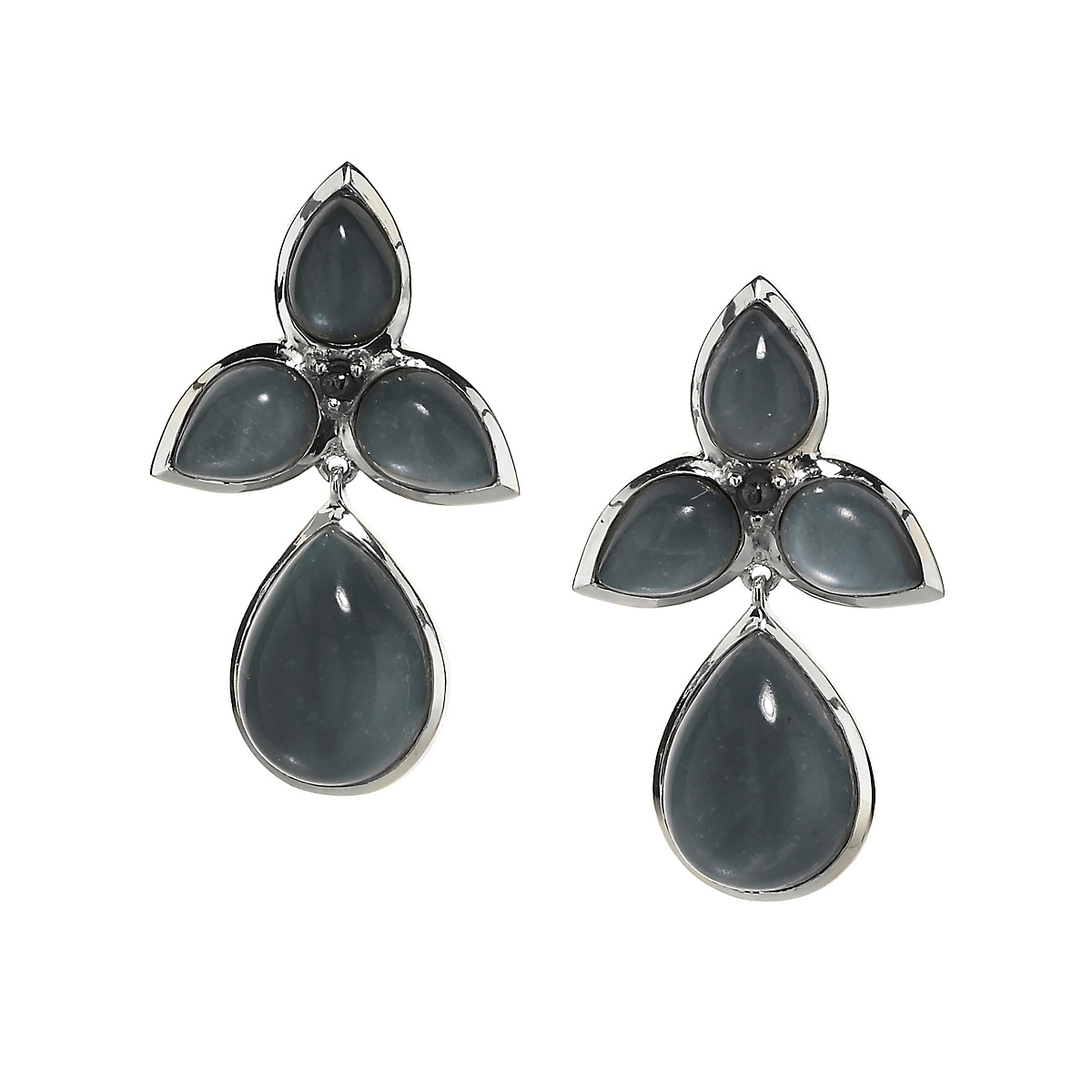 Elizabeth Showers Hematite & Quartz Mariposa Teardrop Earrings