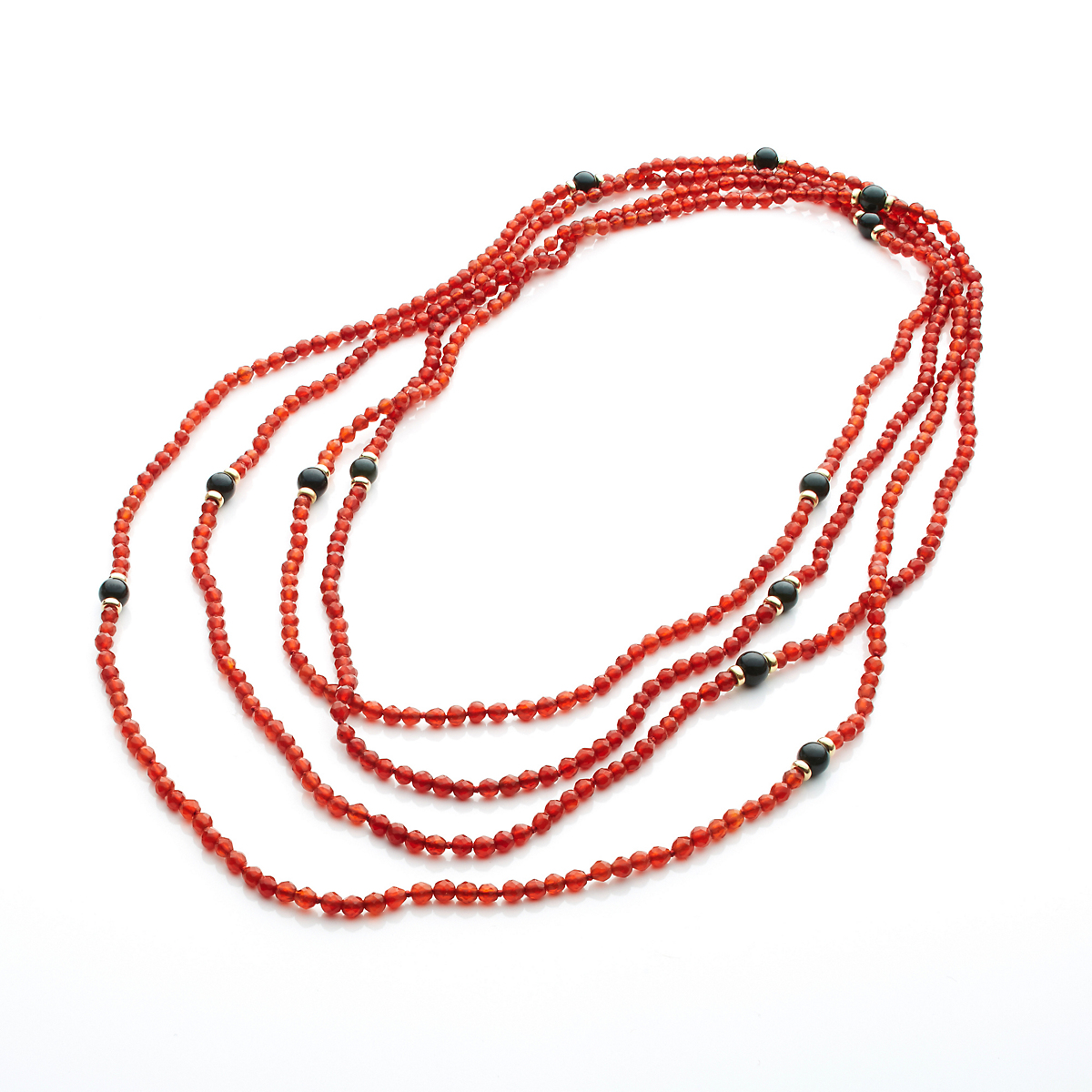 Gump's Faceted Carnelian & Black Jade Long Rope