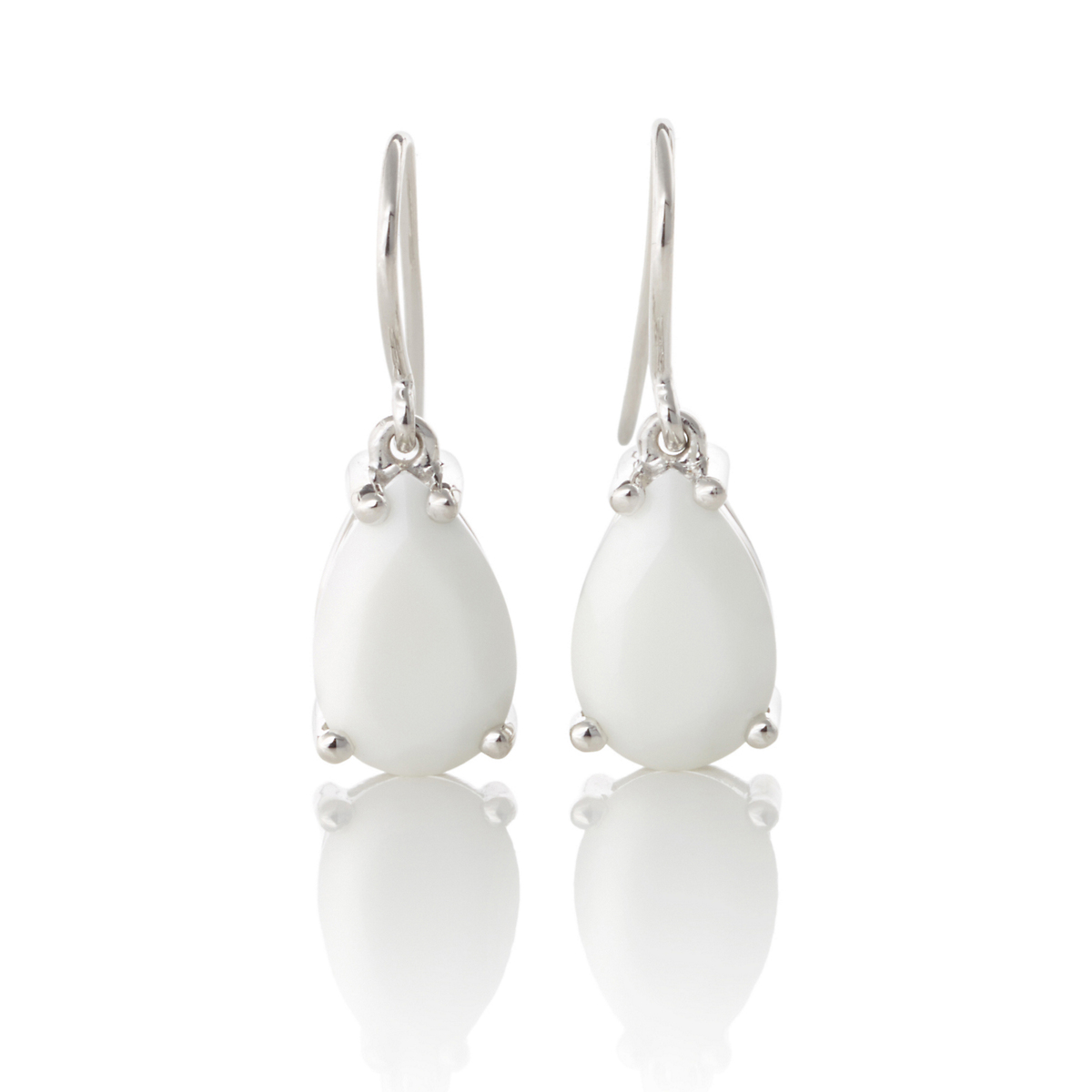Gump's Faceted White Agate Teardrop Earrings