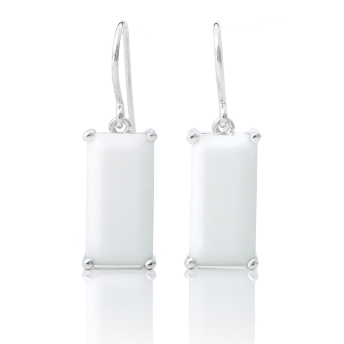 Gump's Faceted Rectangle White Agate Drop Earrings