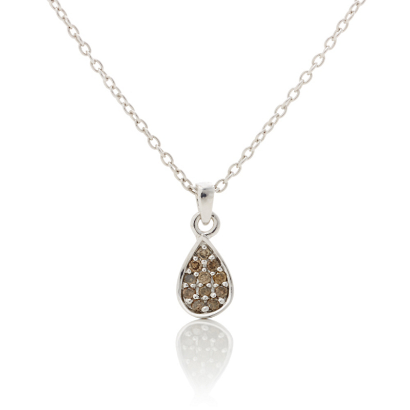 Gump's Cognac Diamond Silver Petal Petite Necklace