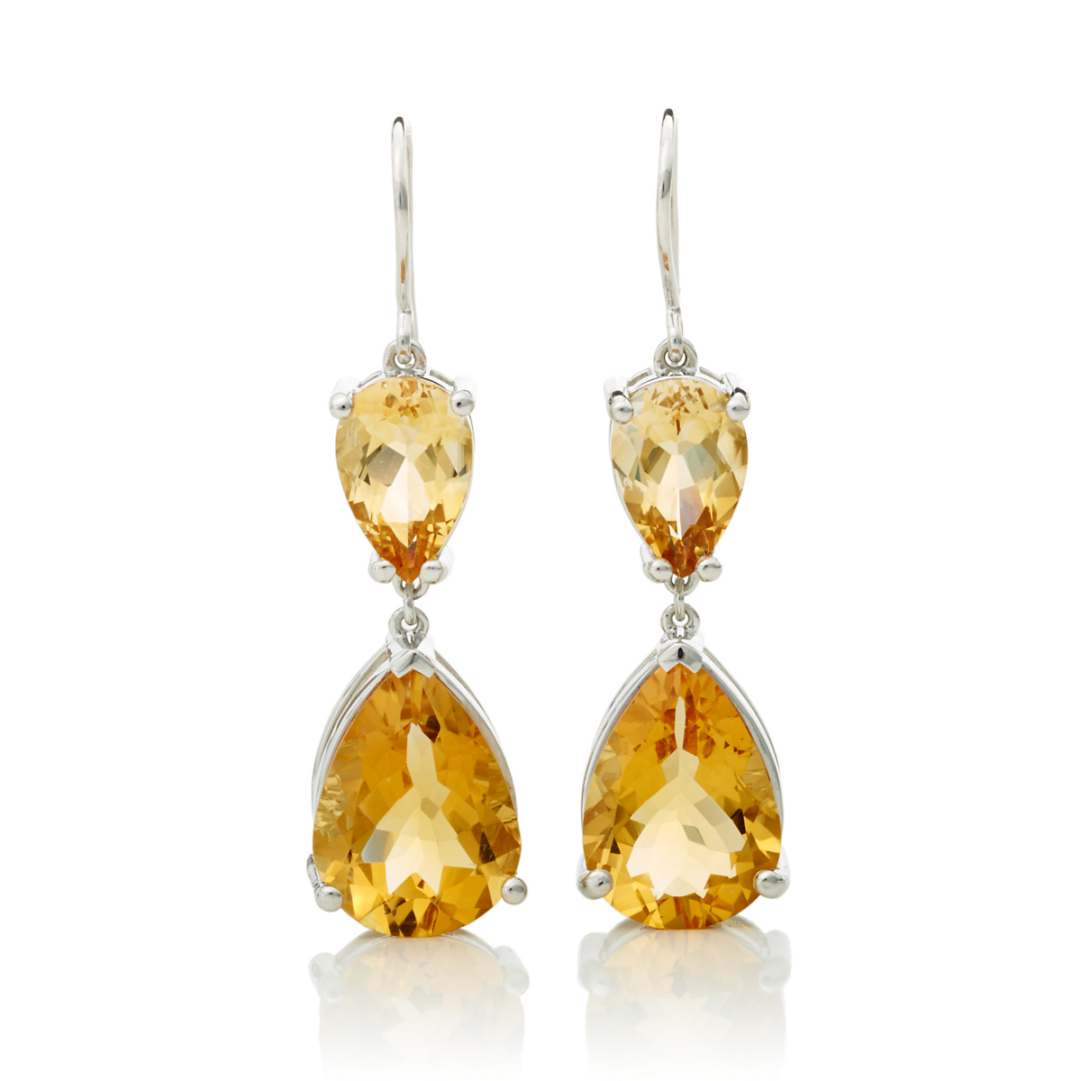Faceted Citrine Double Teardrop Earrings