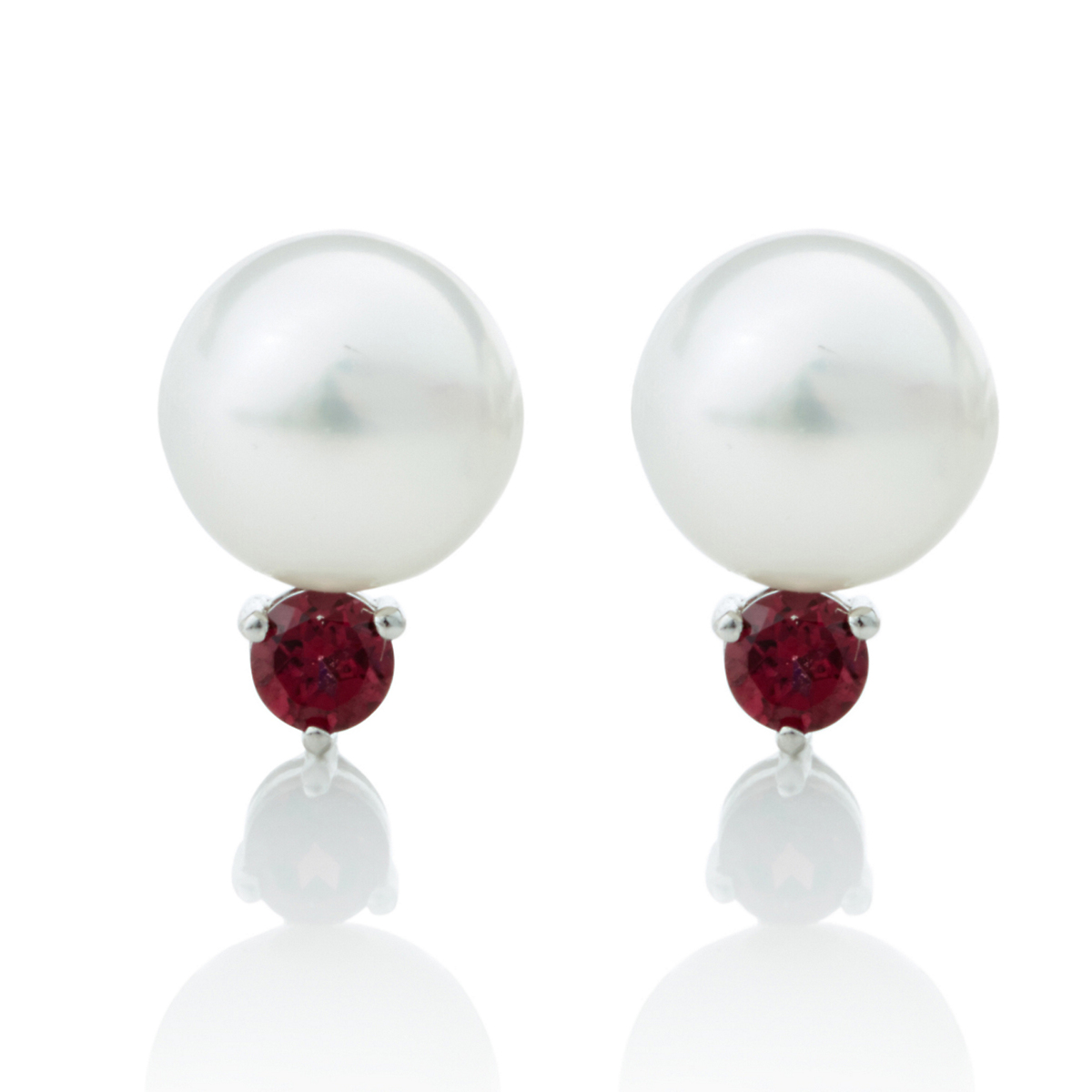 Gump's White Freshwater Pearl, Garnet & Silver Earrings