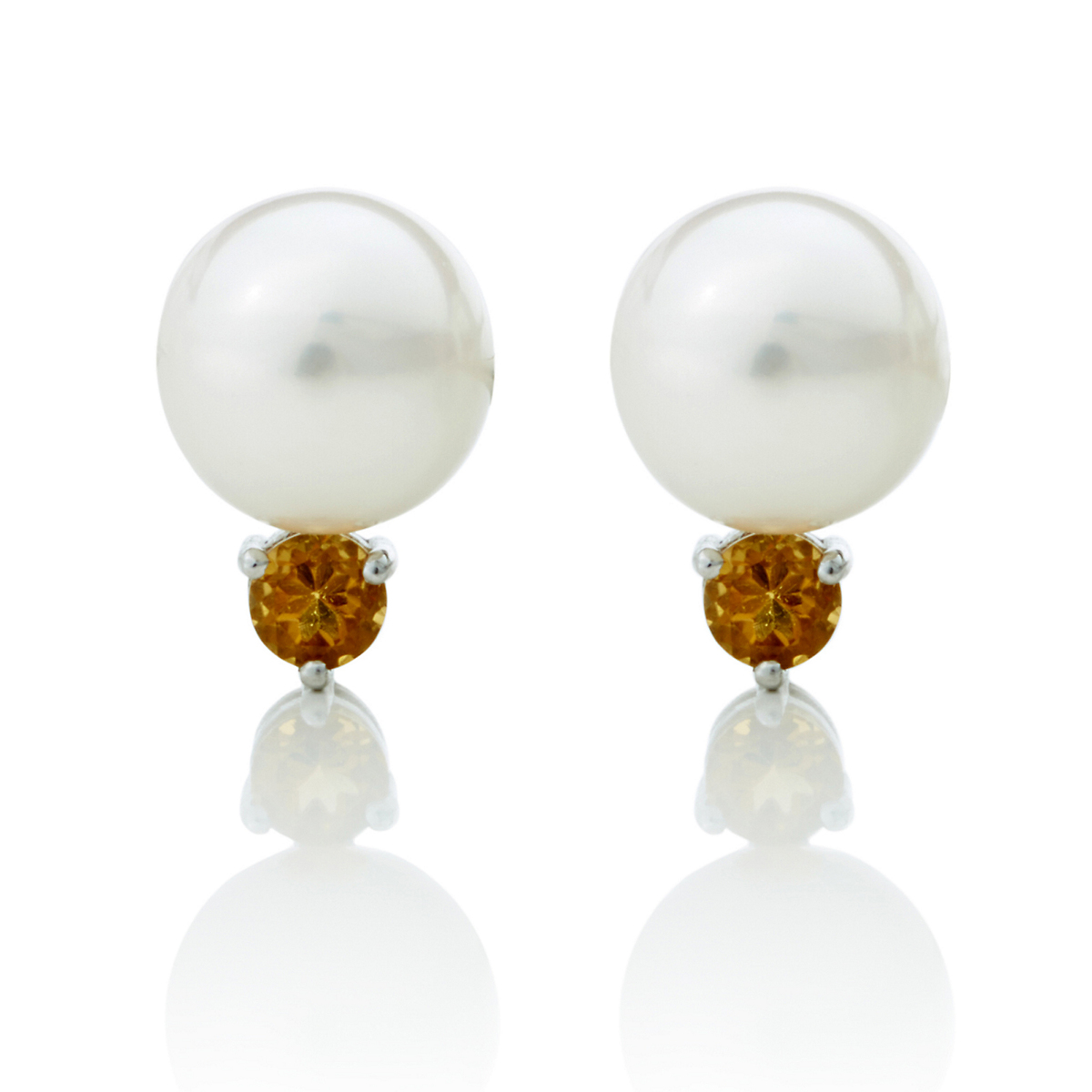 Gump's White Freshwater Pearl, Citrine & Silver Earrings