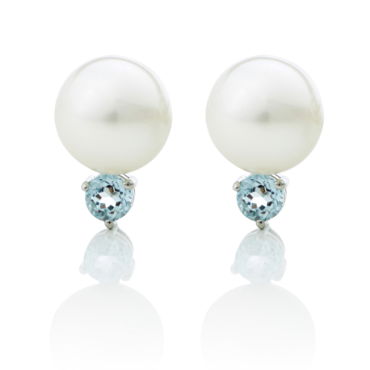 Gump's White Freshwater Pearl, Blue Topaz & Silver Earrings