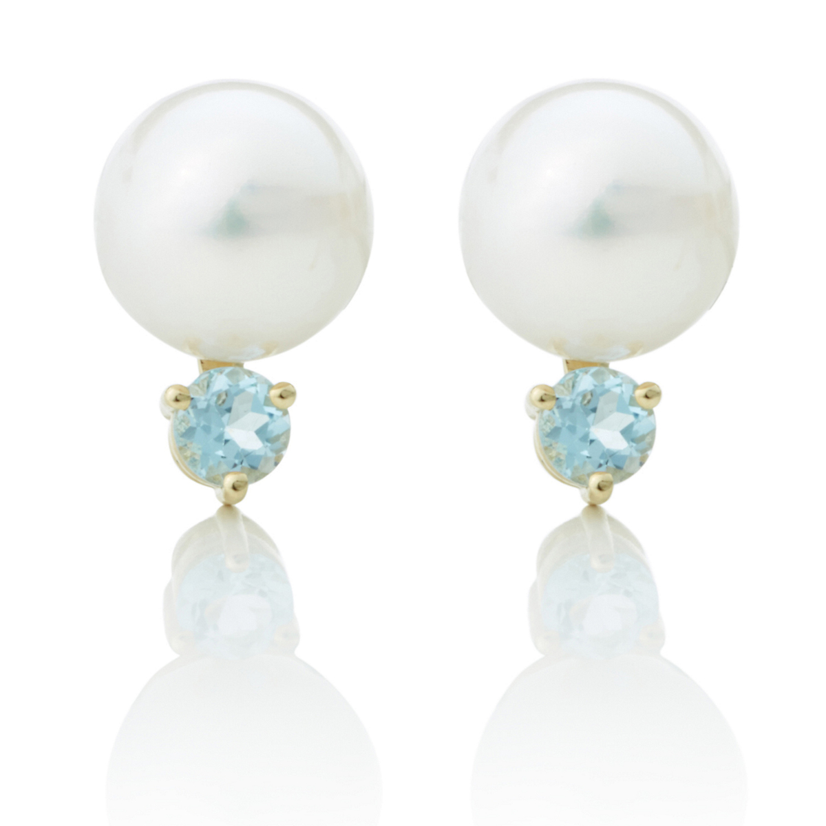 Gump's White Freshwater Pearl, Blue Topaz & Gold Earrings