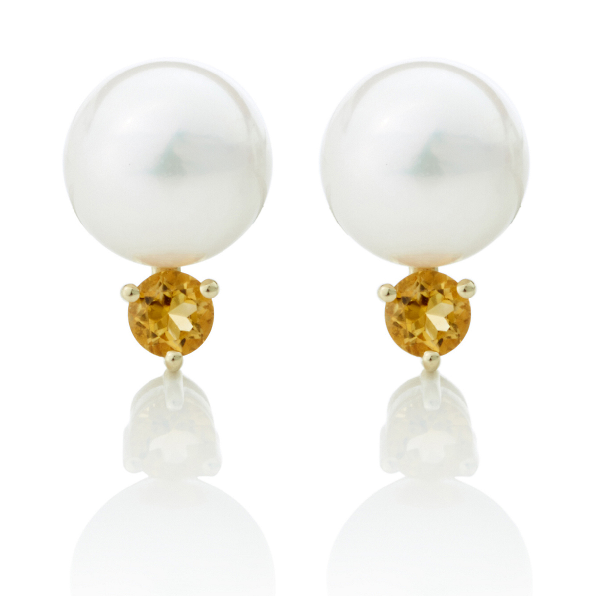 Gump's Pearl And Citrine Earrings