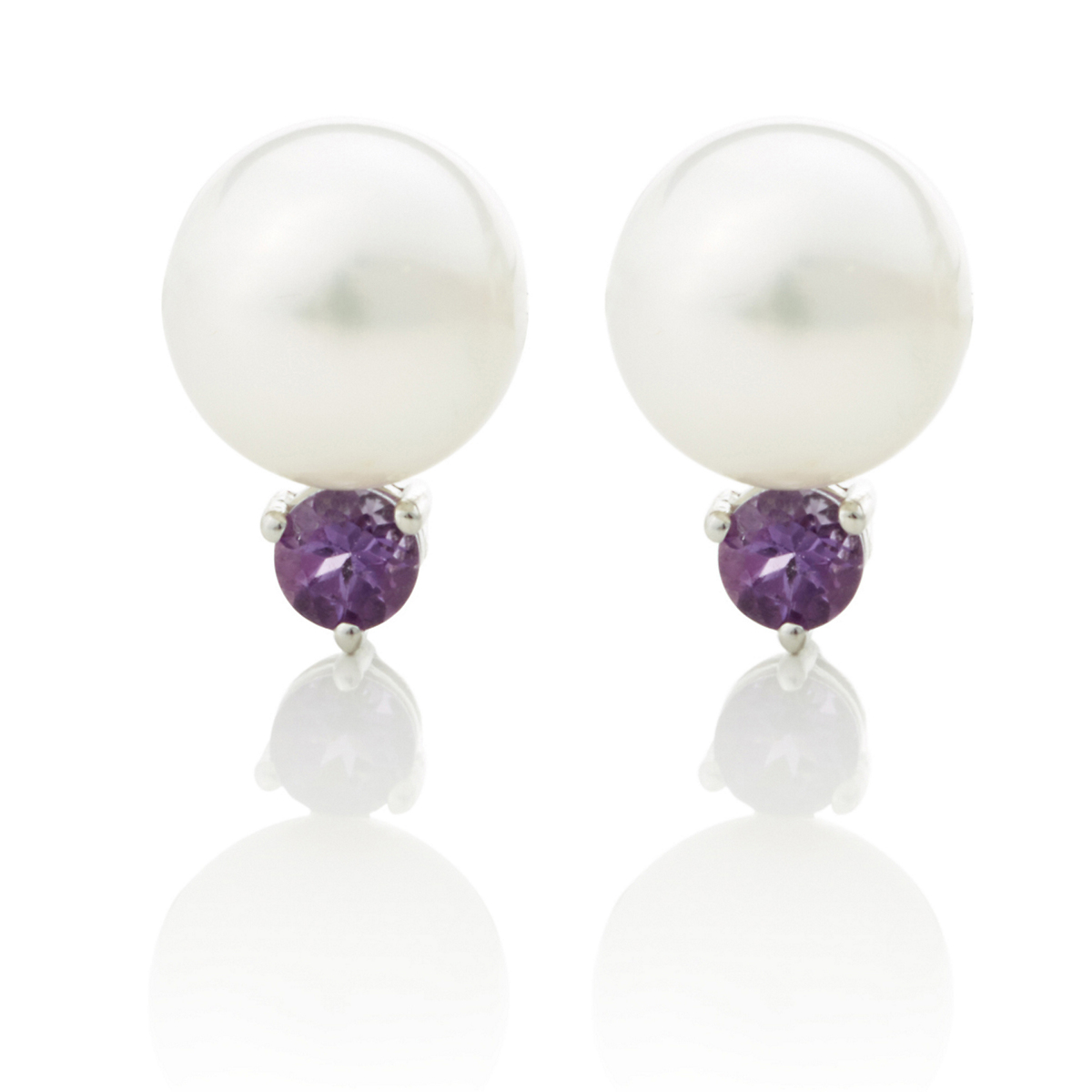 Gump's White Freshwater Pearl, Amethyst & Silver Earrings
