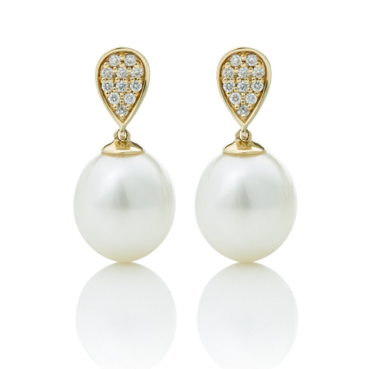 Gump's Diamond & Pearl Drop Earrings