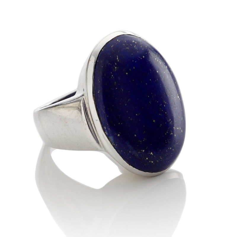 Gump's Large Oval Lapis Silver Ring