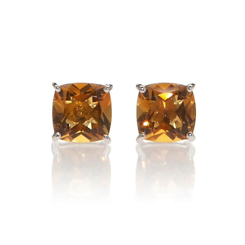 Gump's Faceted Citrine Cushion Silver Stud Earrings