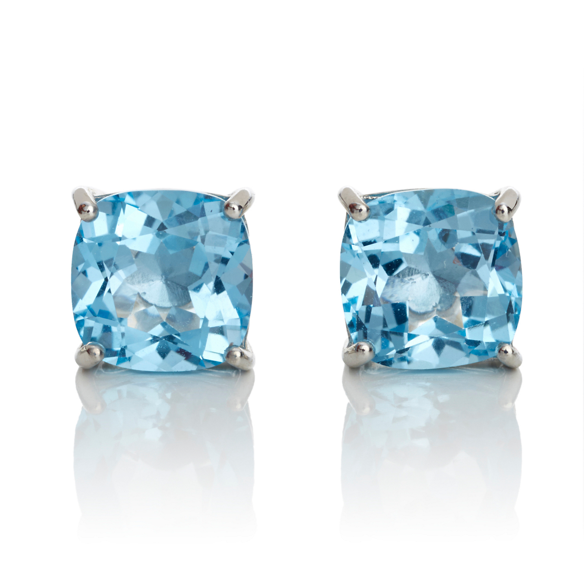 Gump's Faceted Blue Topaz Cushion Silver Stud Earrings