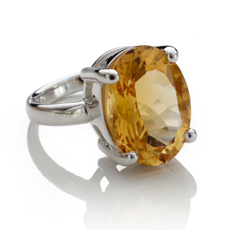 Gump's Faceted Oval Citrine Silver Ring