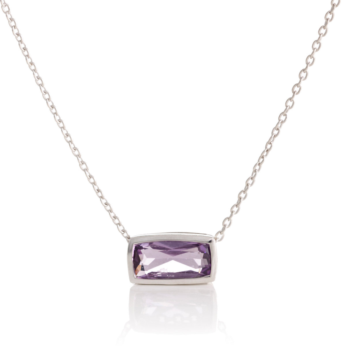 Gump's Faceted Amethyst Rectangle Silver Slide Necklace