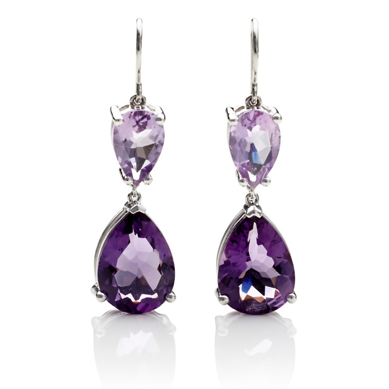 Gump's Faceted Amethyst Double Teardrop Earrings