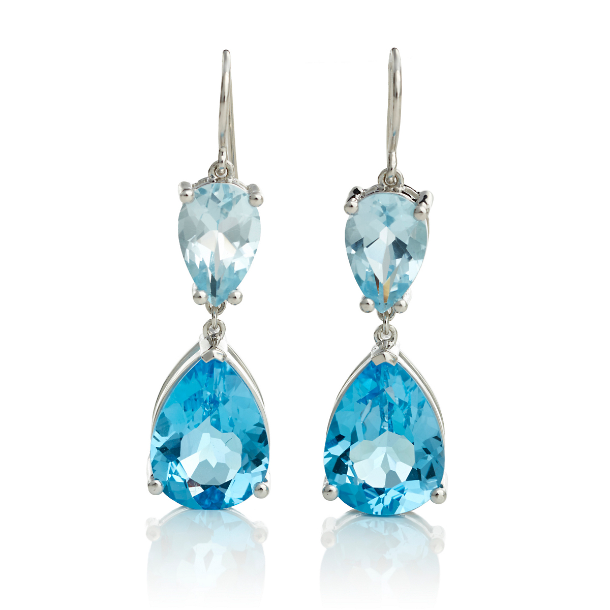Gump's Faceted Blue Topaz Double Teardrop Earrings