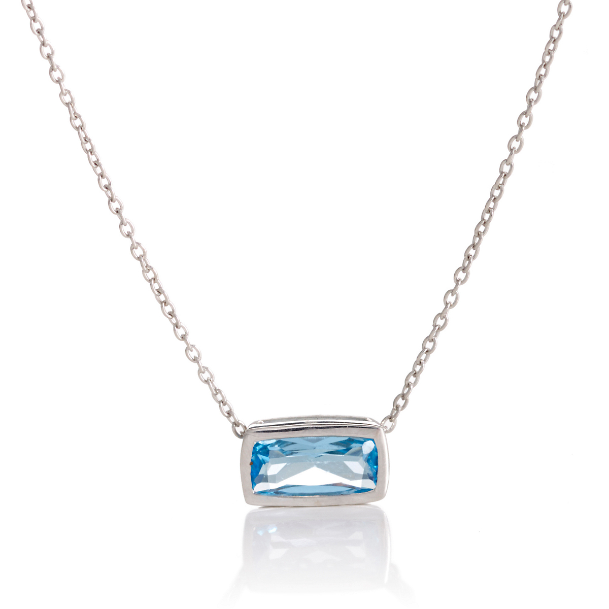 Gump's Faceted Blue Topaz Rectangle Silver Slide Necklace