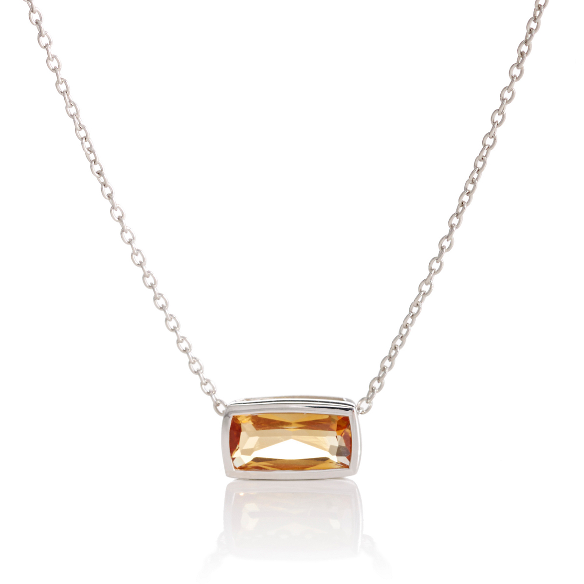 Gump's Faceted Citrine Rectangle Silver Slide Necklace