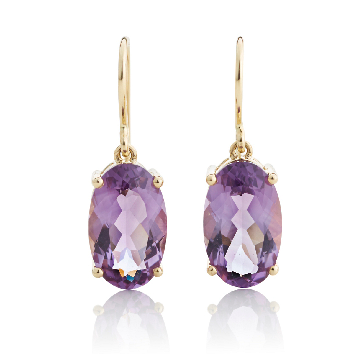 Gump's Faceted Amethyst Oval Gold Drop Earrings