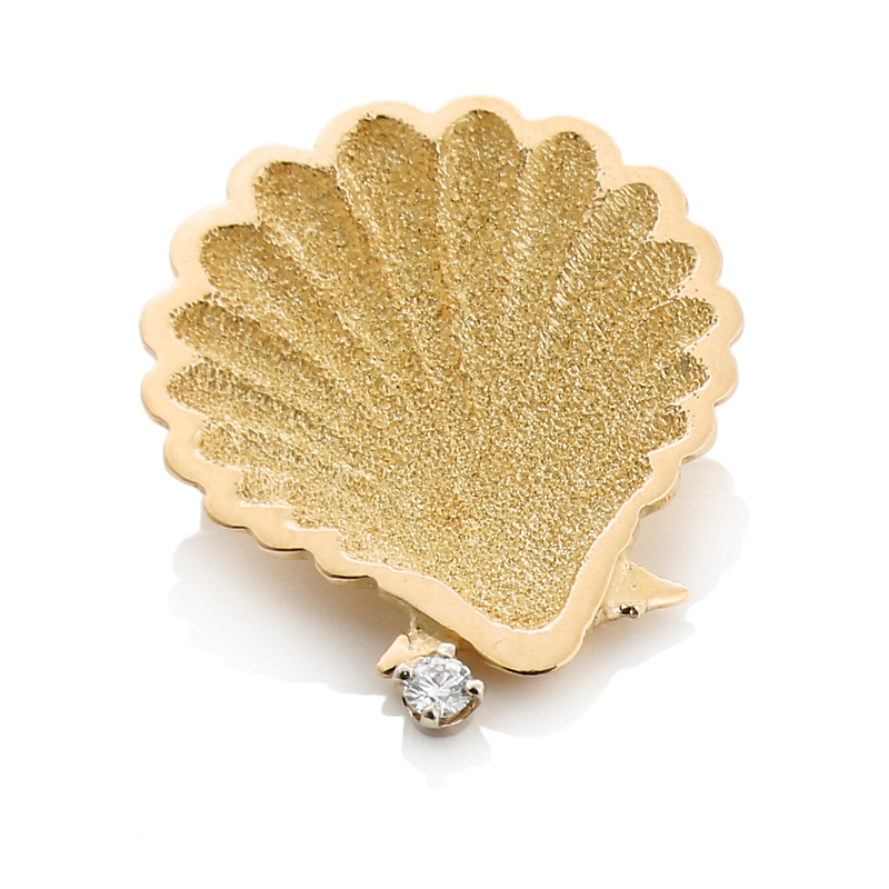 Diamond and Gold Shell Brooch