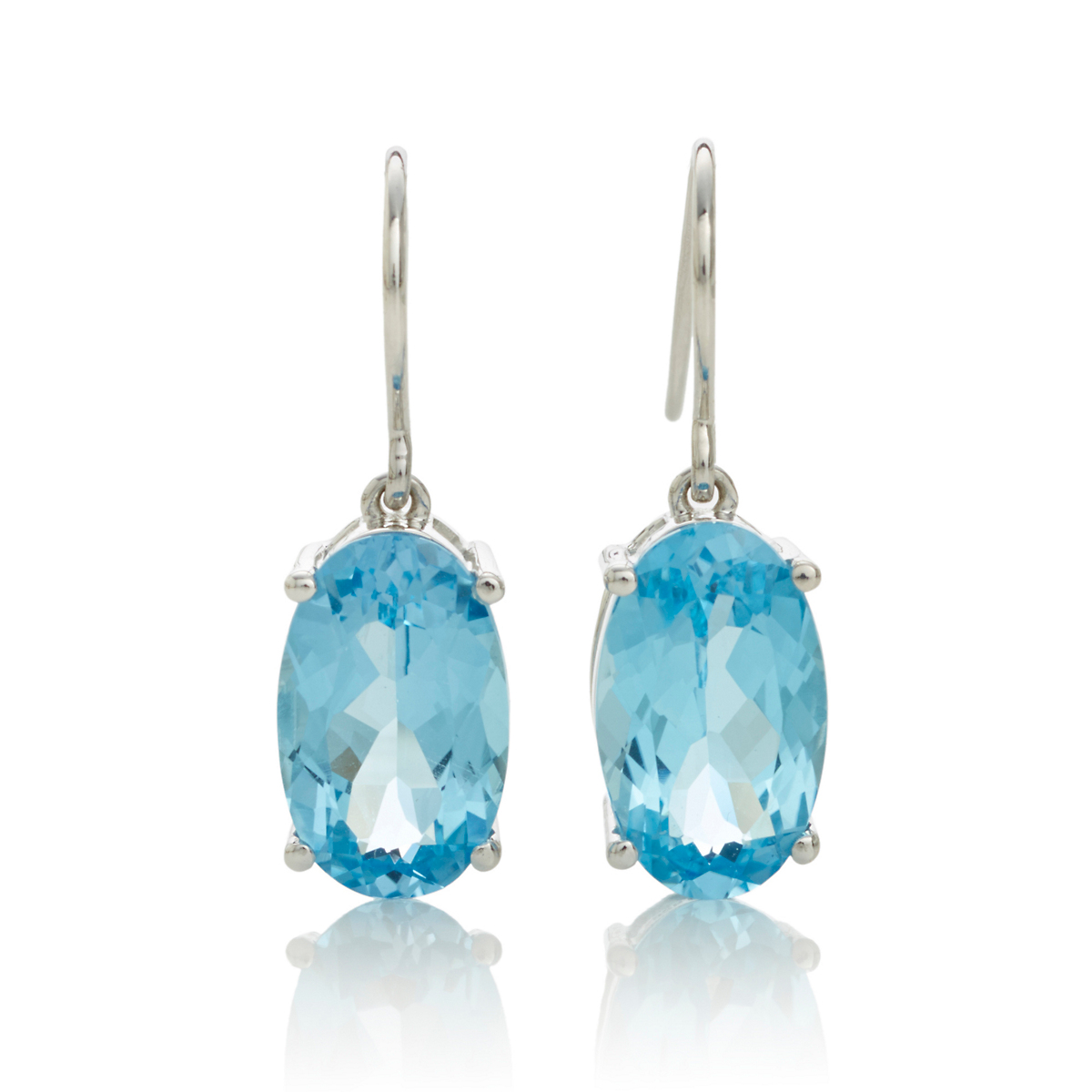 Gump's Faceted Blue Topaz Oval Drop Silver Earrings