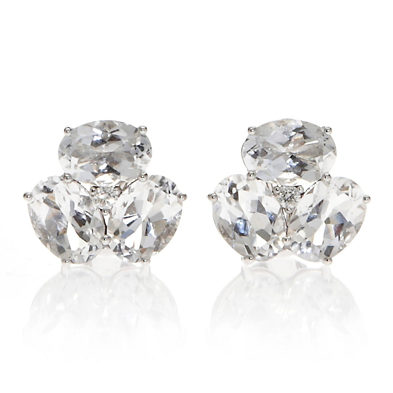 Gump's Clear Quartz & Diamond Cluster Earrings