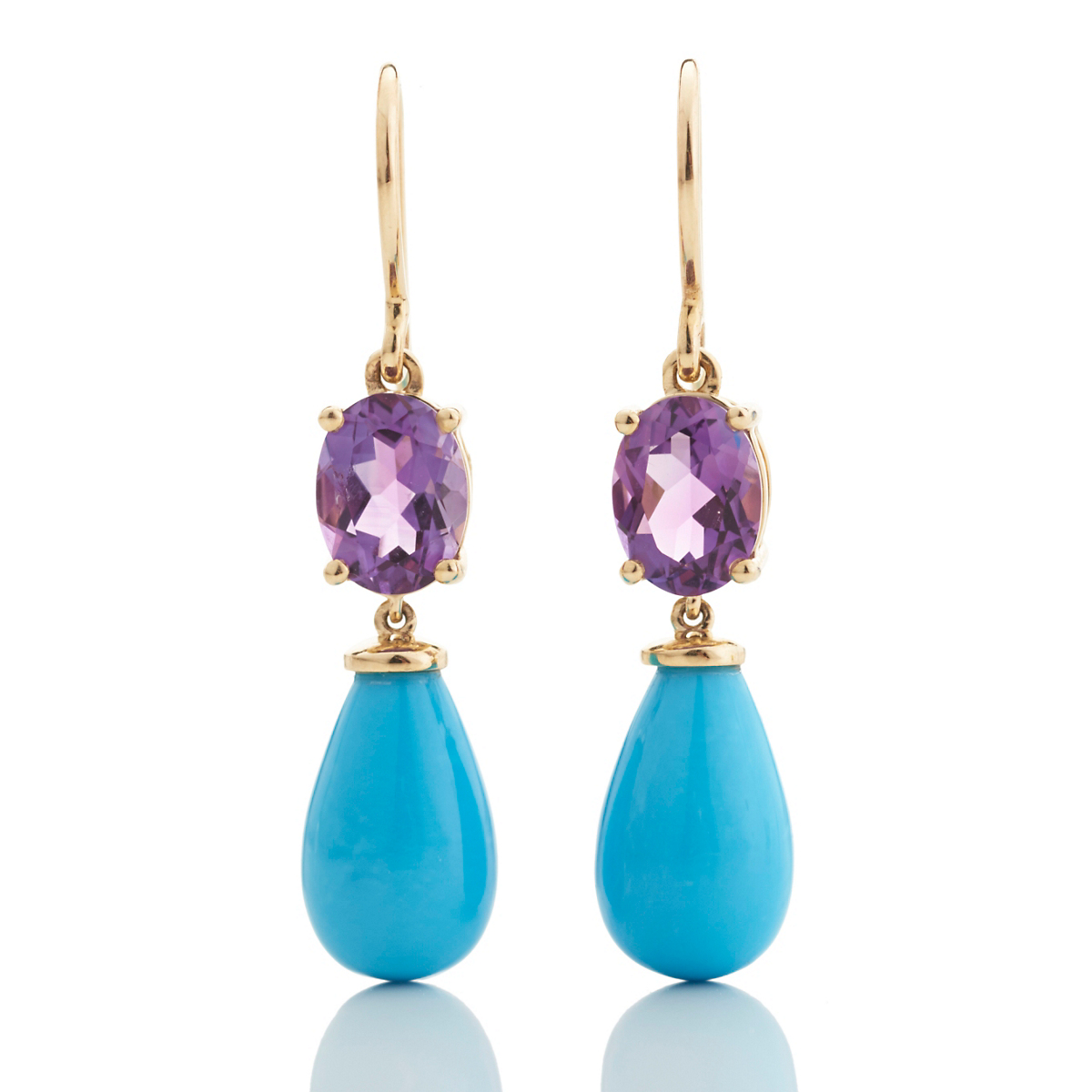 Amethyst & Turquoise Drop Earrings