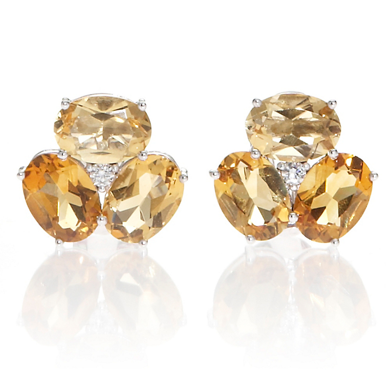 Gump's Faceted Citrine & Diamond Cluster Earrings