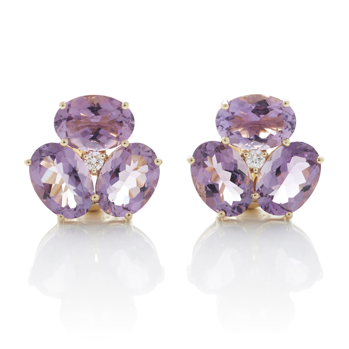 Gump's Faceted Amethyst Cluster Earrings