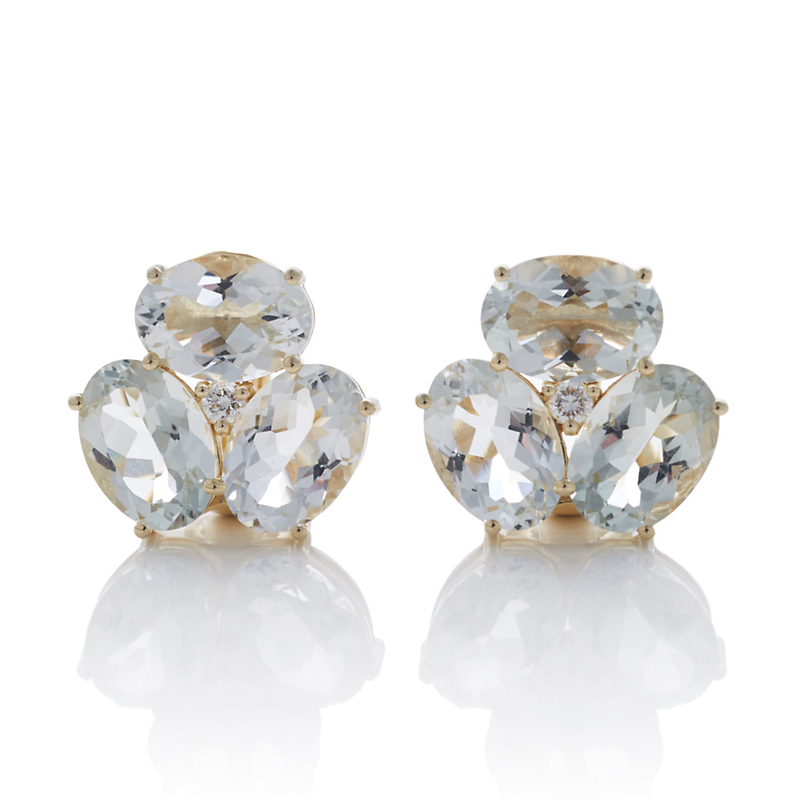 Gump's Green Amethyst And Diamond Cluster Earrings
