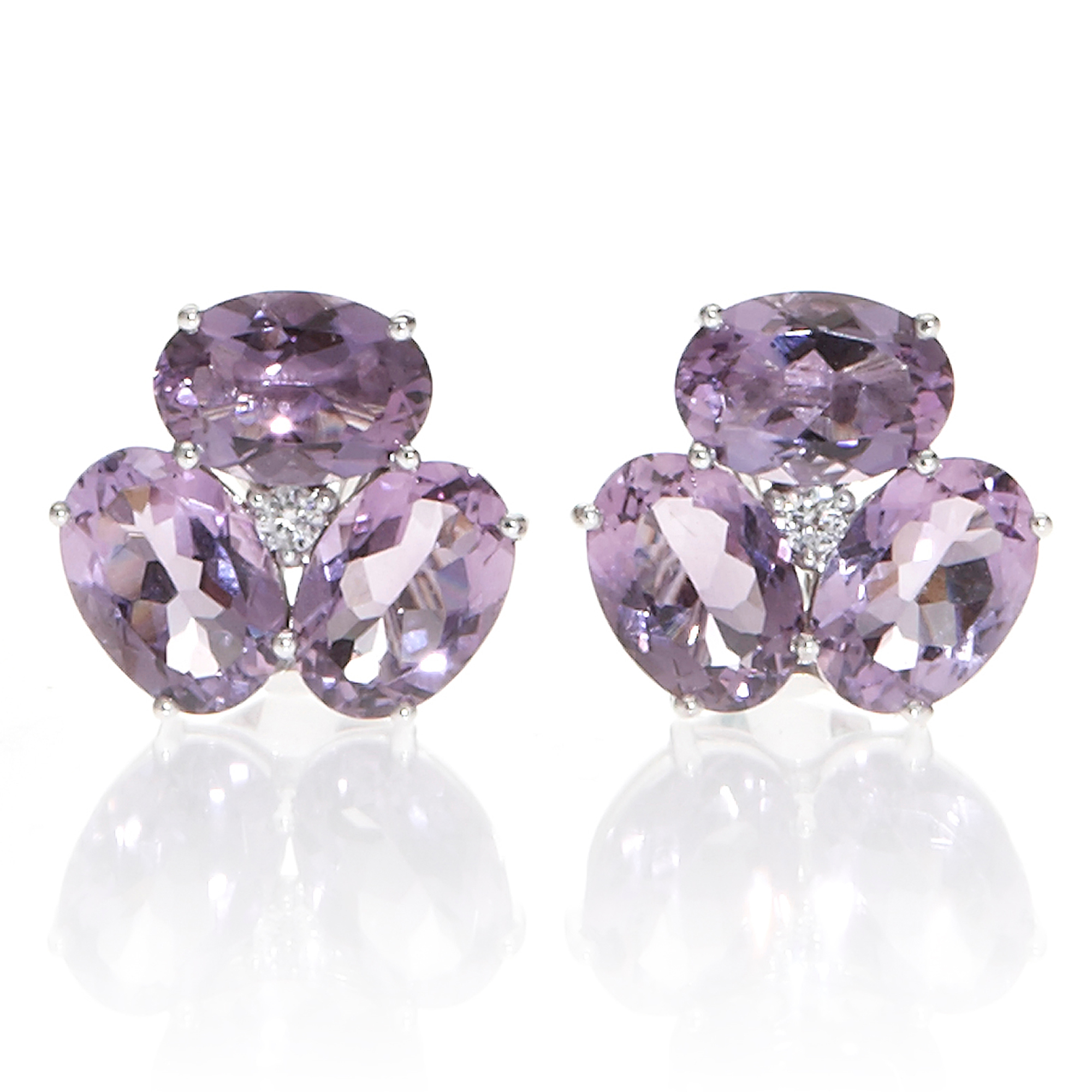 Gump's Faceted Amethyst & Diamond Cluster Silver Earrings