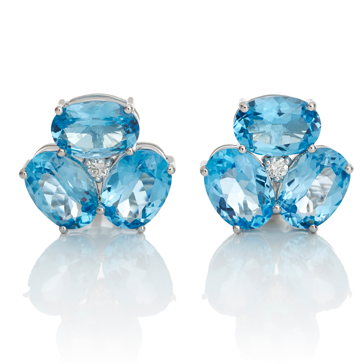 Faceted Blue Topaz & Diamond Cluster Silver Earrings