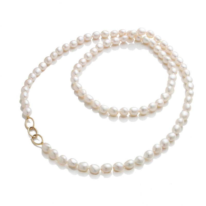 Gump's Baroque Pearl Rope Necklace With Gold Links