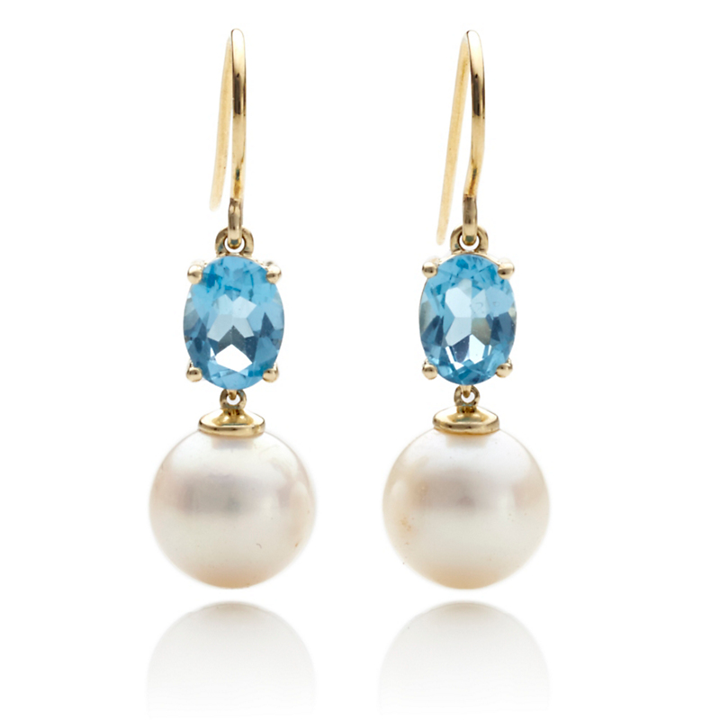 Gump's Faceted Blue Topaz & Freshwater Pearl Drop Earrings