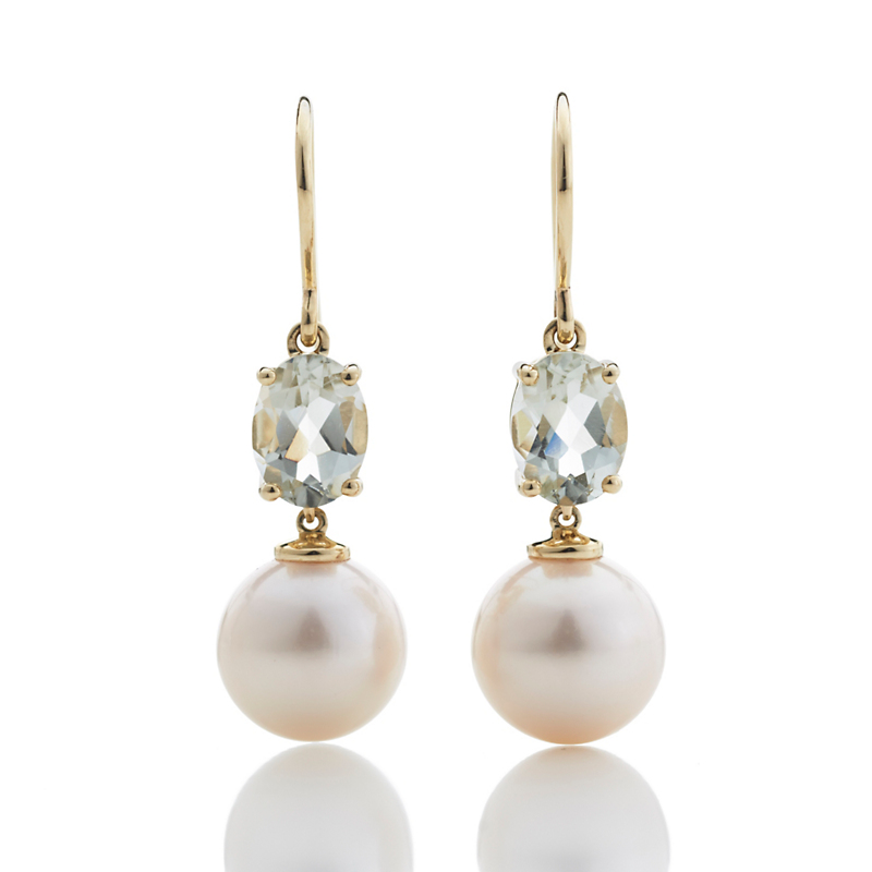 Gump's Green Quartz And Pearl Earrings