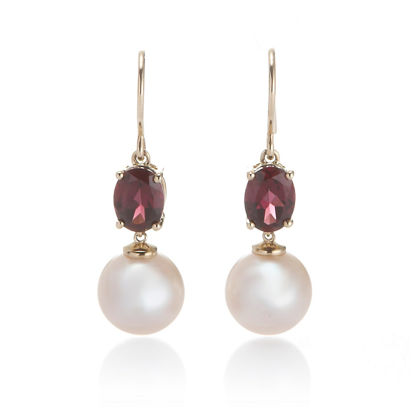 Gump's Garnet And Pearl Drop Earrings
