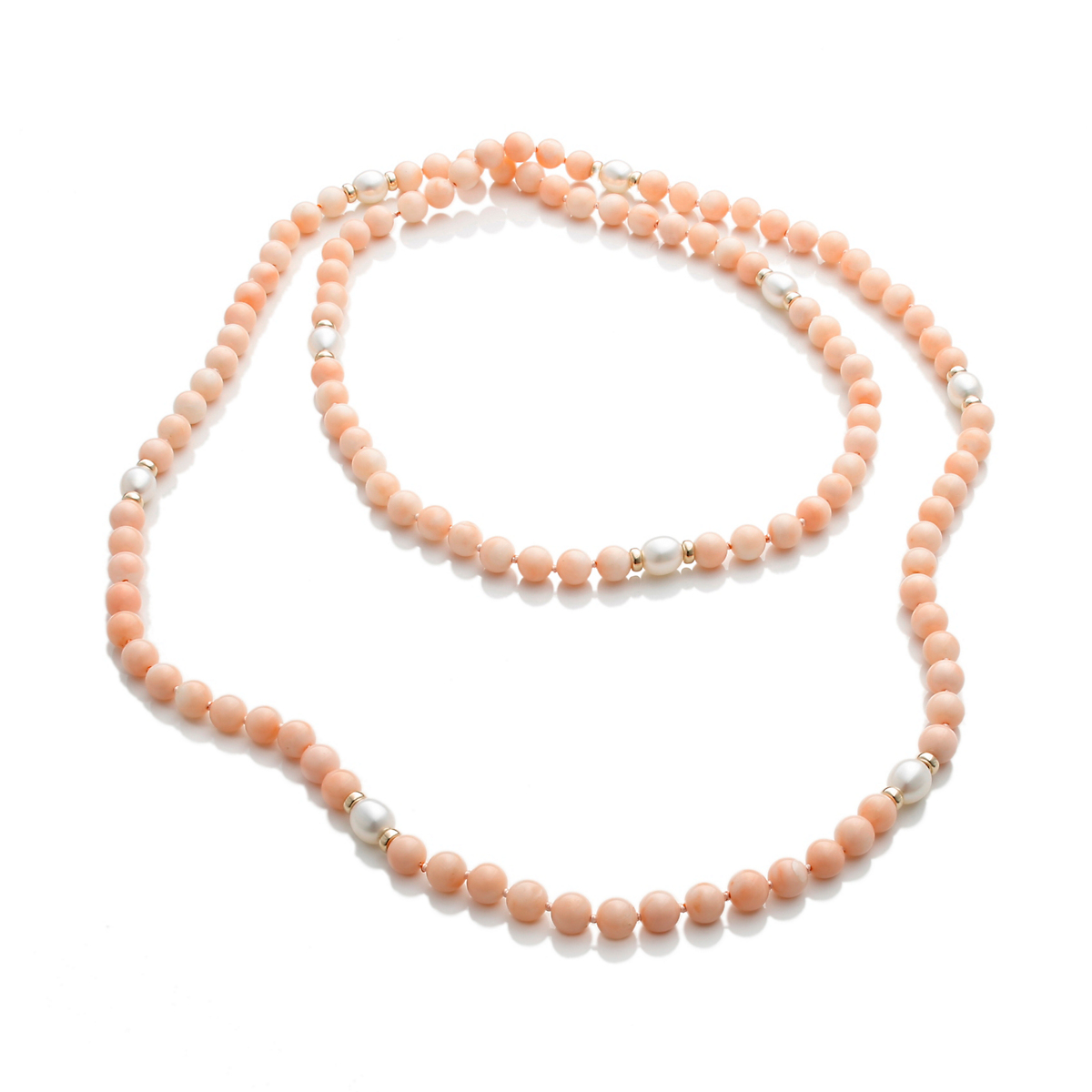 Gump's Pink Coral Rope Necklace With Freshwater Cultured Pearls