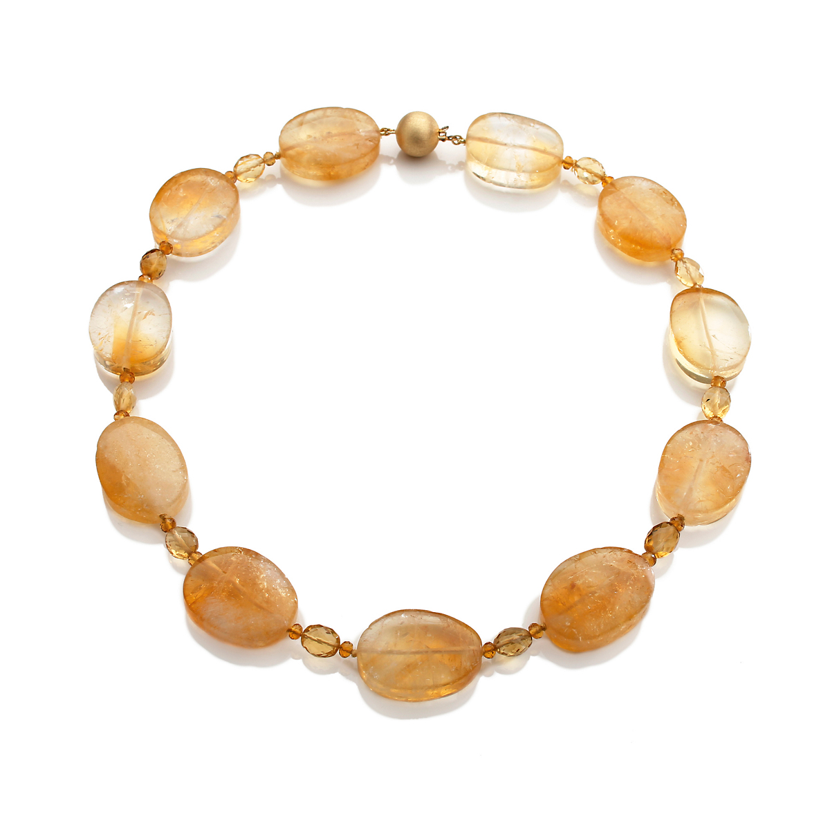 Gump's Citrine Pebble & Yellow Topaz Necklace