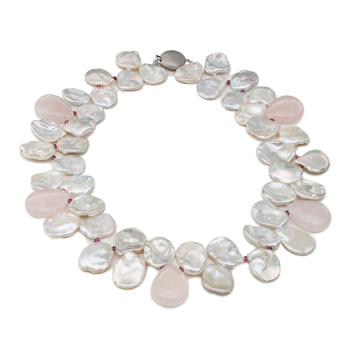 Gump's Petal Pearl Rose Quartz & Garnet Necklace