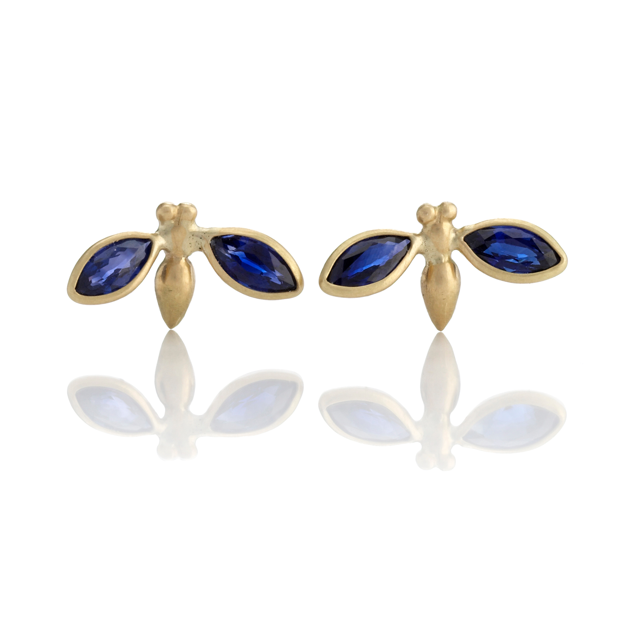 Gabriella Kiss Sapphire & Gold Gem Bug Stud Earrings