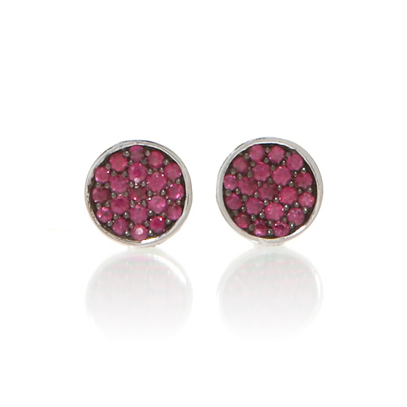 Gump's Pave Ruby Silver Earrings