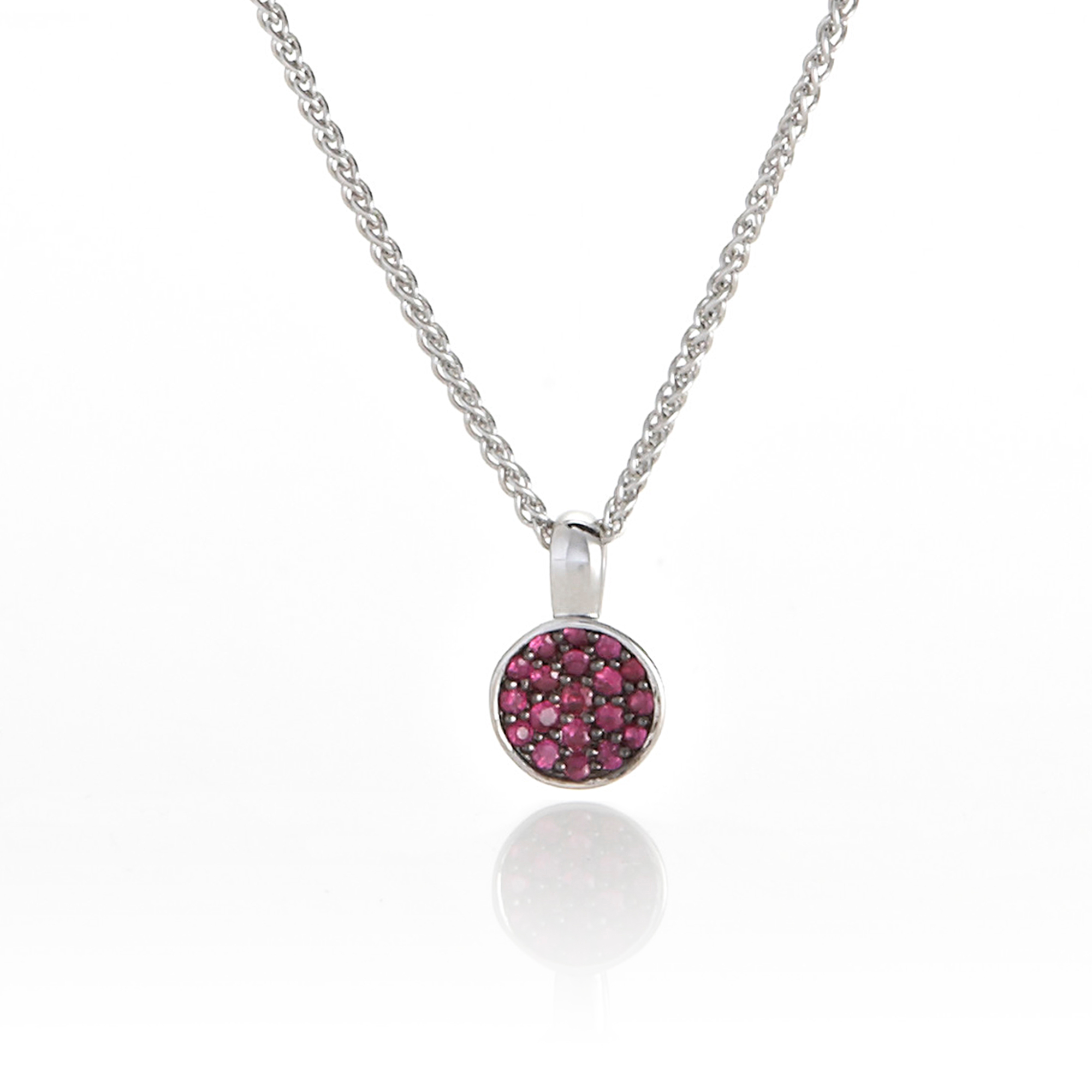 Gump's Pave Ruby Silver Necklace