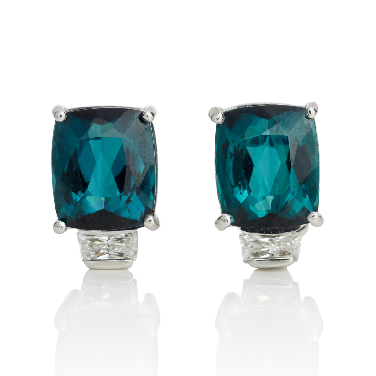 Gump's Blue Green Tourmaline & Diamond Earrings