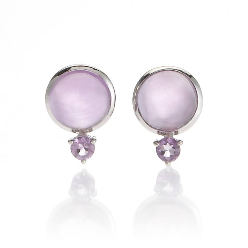 Gump's Cabochon & Faceted Amethyst Silver Earrings