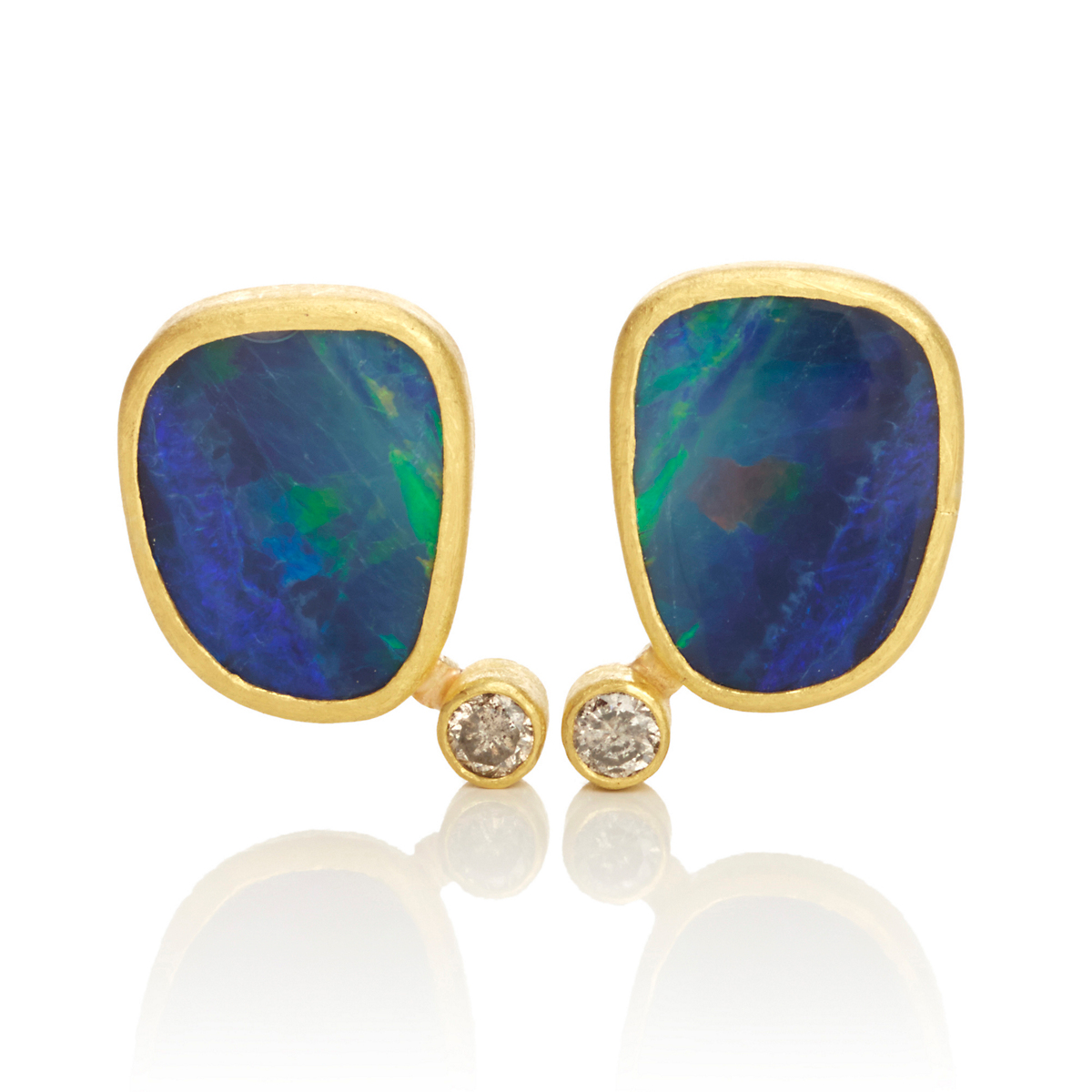 Petra Class Opal Doublet & Diamond Earrings