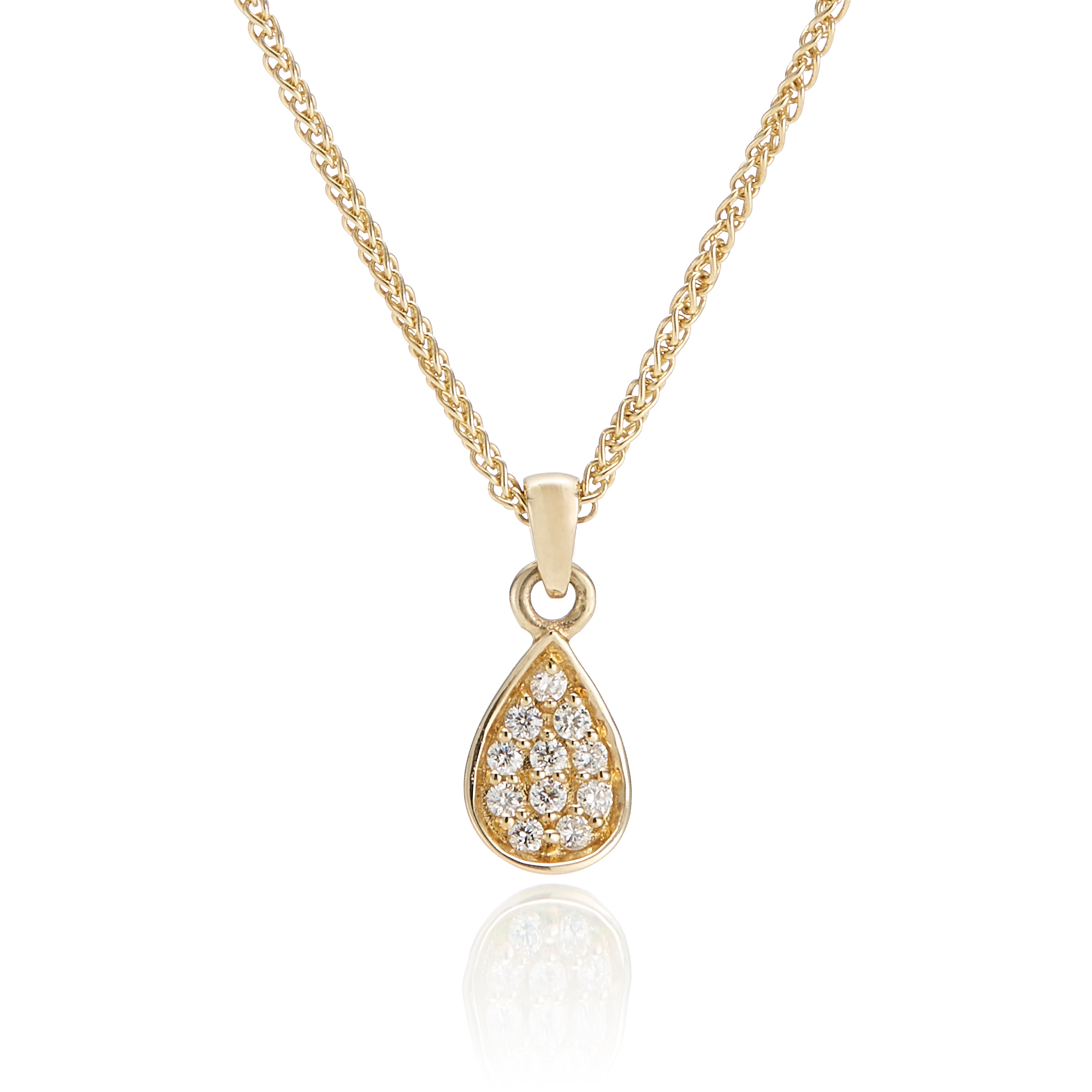 Gump's Petite Pavé Diamond Petal Necklace