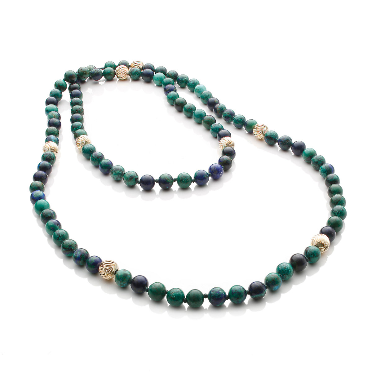 Gump's Azurite Malachite & Gold Rope