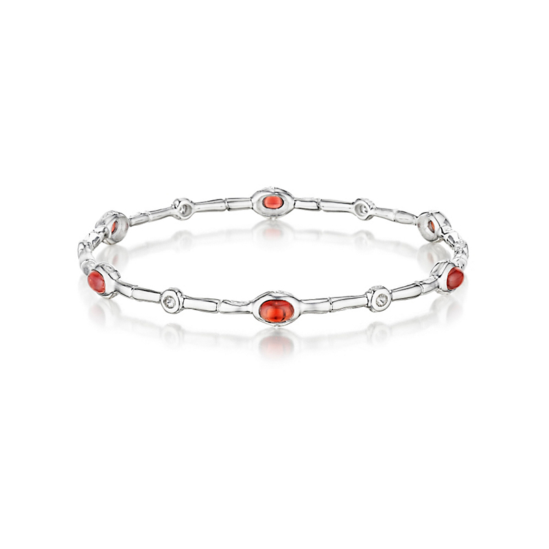 Gump's Garnet & White Topaz Silver Bamboo Bangle