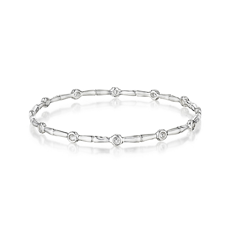Gump's White Topaz Silver Bamboo Bangle