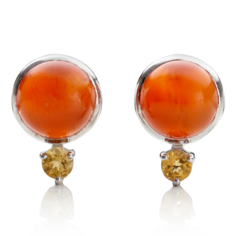 Gump's Carnelian Cabochon & Citrine Earrings
